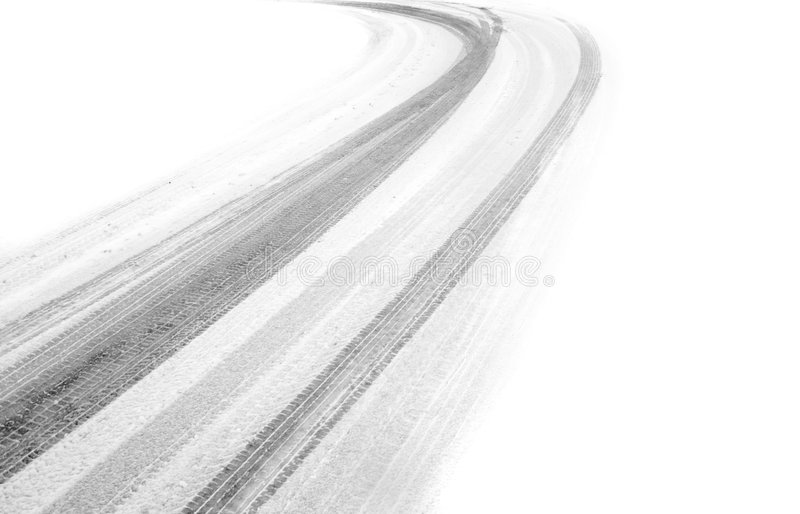 Tyre tracks in snow stock images