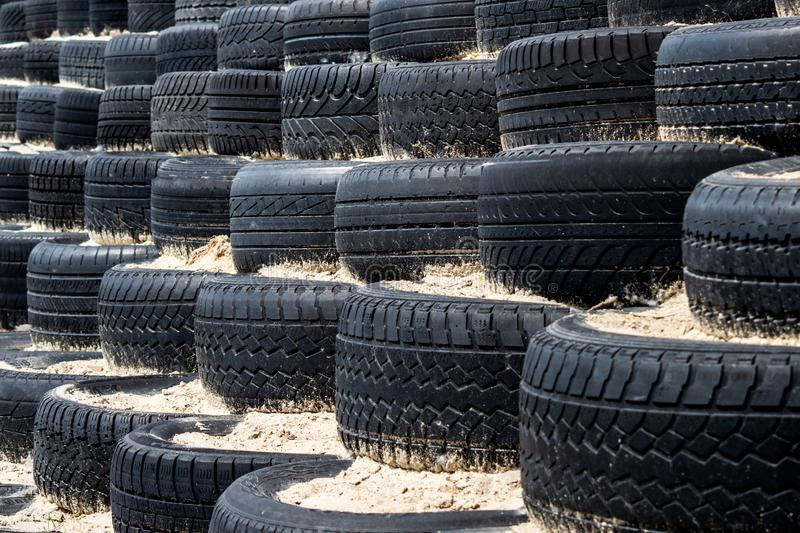 Tyre wall for sports and competition. royalty free stock photography