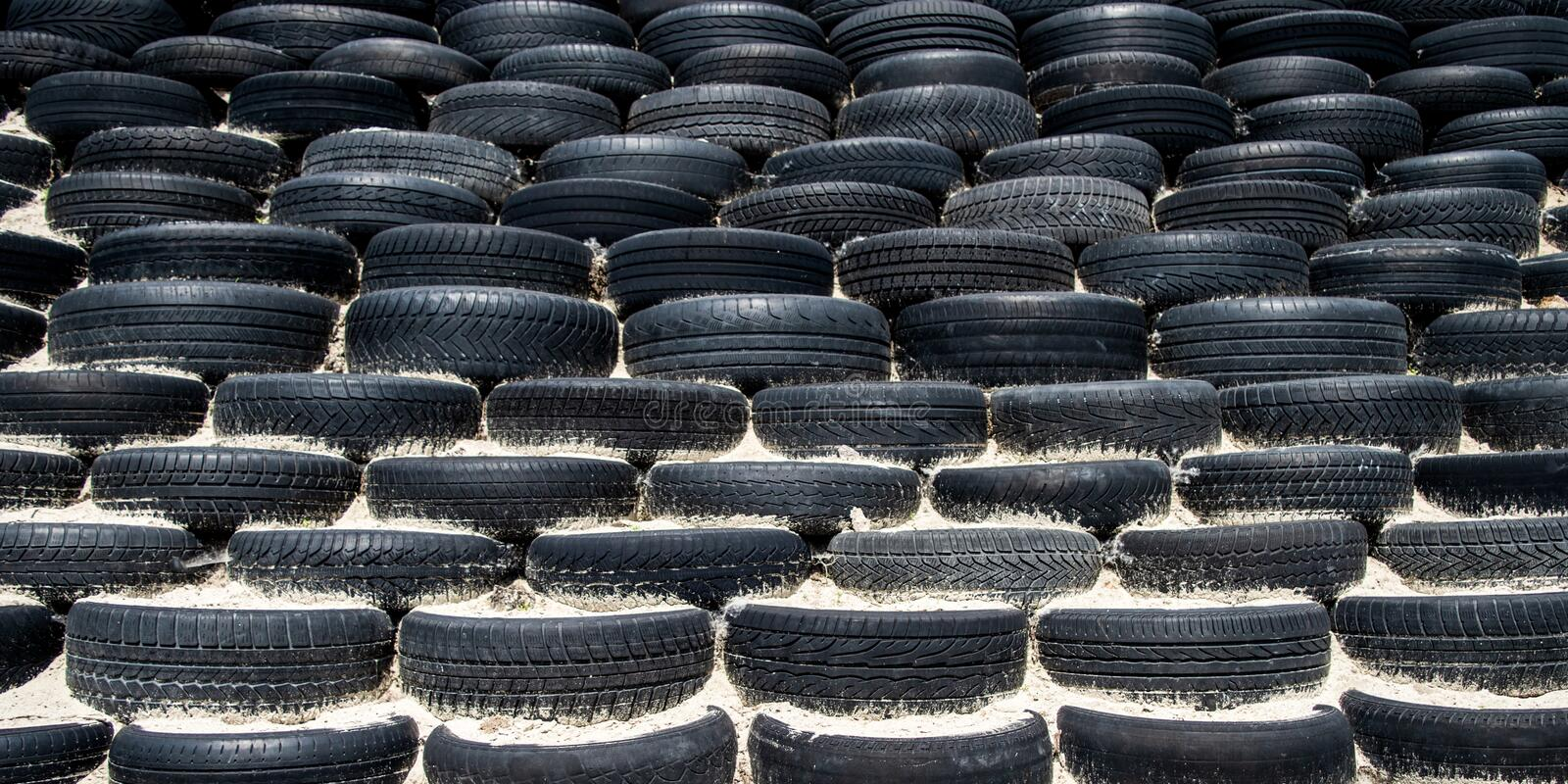 Tyre wall for sports and competition. stock images
