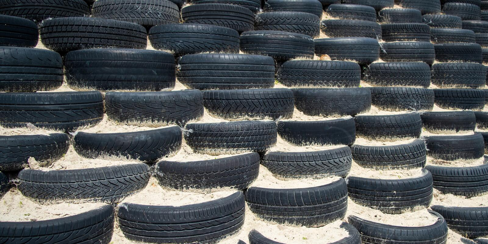 Tyre wall for sports and competition. stock image