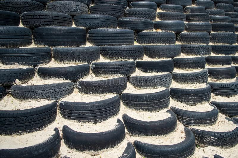 Tyre wall for sports and competition. royalty free stock image