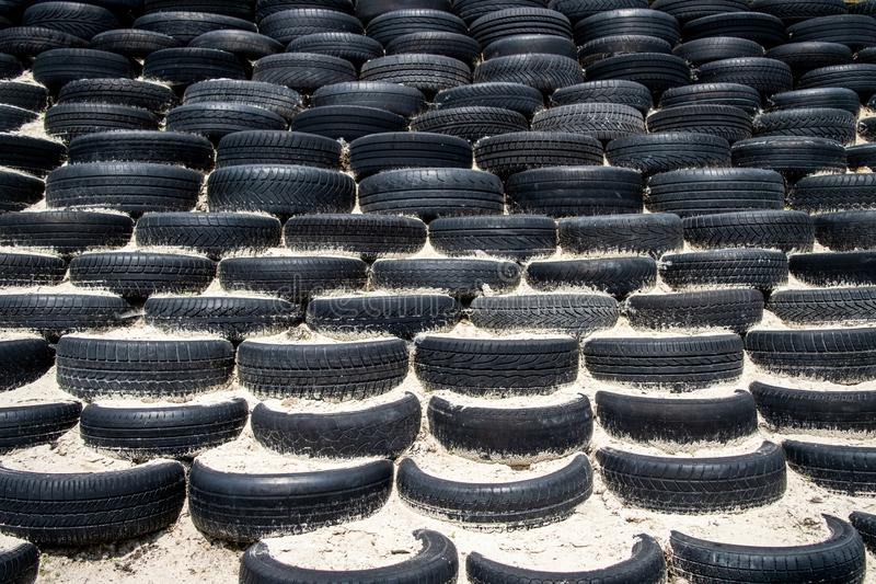 Tyre wall for sports and competition. royalty free stock photo