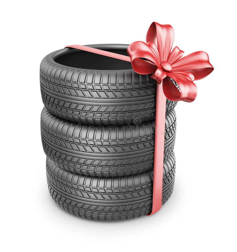 Tyres with a red ribbon. Present. 3D Icon. On white background vector illustration