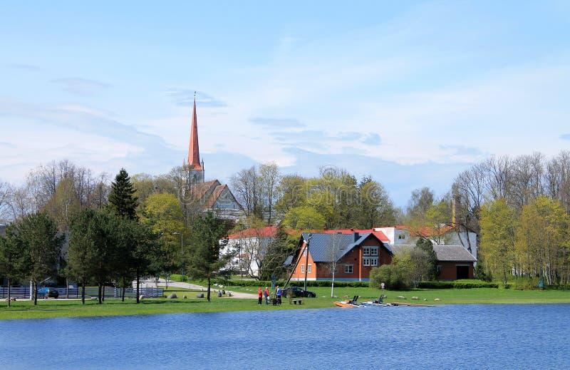Tyri view. ESTONIA, TURI / MAY 10 / 2015 - View provincial Estonian town of Turi from the lake royalty free stock photos