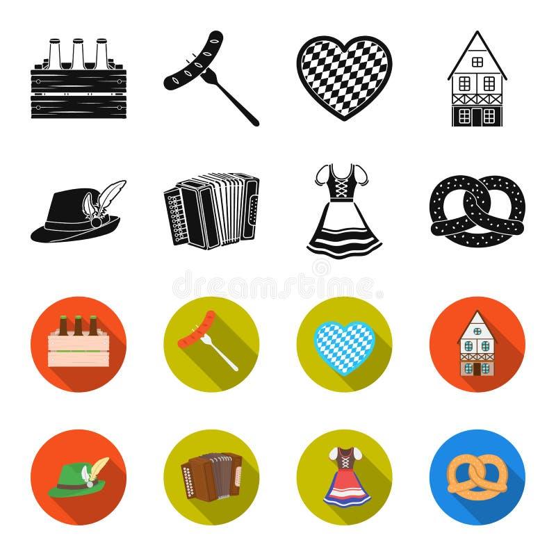 Tyrolean hat, accordion, dress, pretzel. Oktoberfest set collection icons in black,flet style vector symbol stock. Illustration royalty free illustration