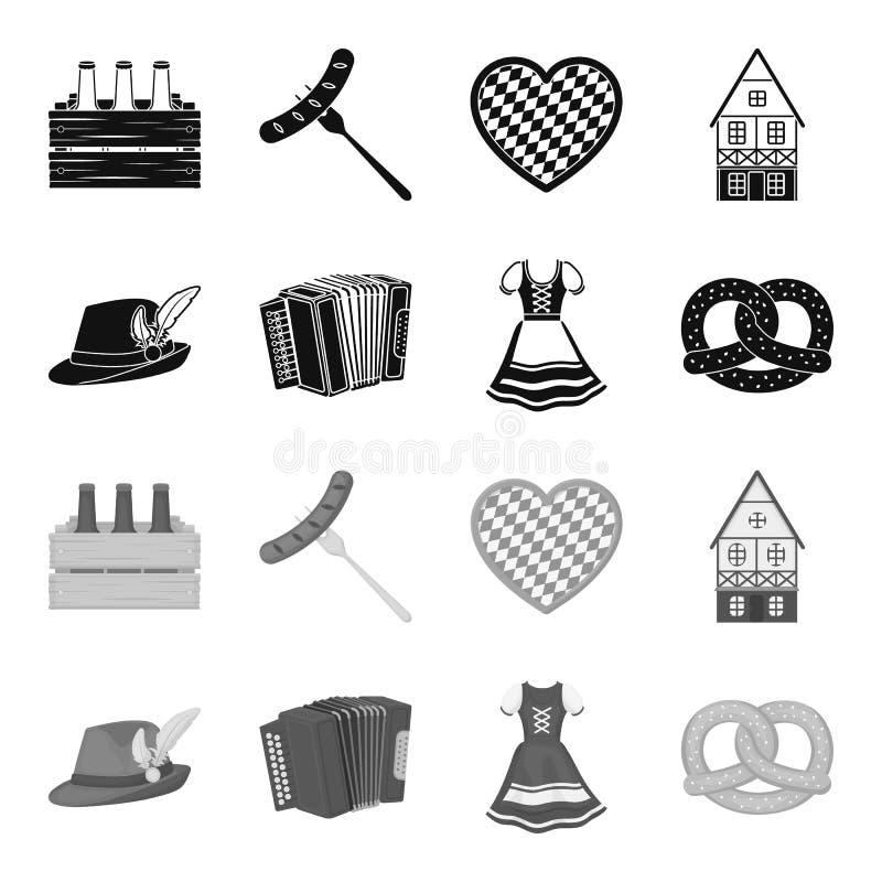 Tyrolean hat, accordion, dress, pretzel. Oktoberfest set collection icons in black,monochrome style vector symbol stock. Illustration vector illustration