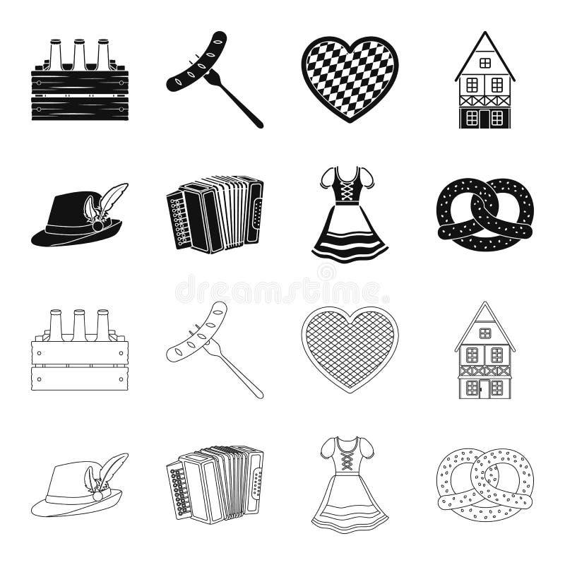 Tyrolean hat, accordion, dress, pretzel. Oktoberfest set collection icons in black,outline style vector symbol stock. Illustration royalty free illustration