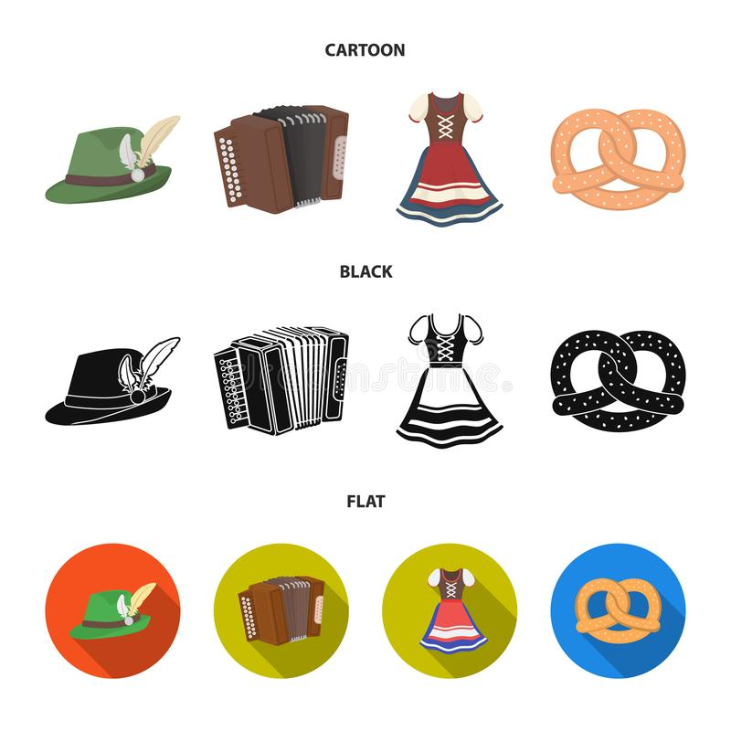 Tyrolean hat, accordion, dress, pretzel. Oktoberfest set collection icons in cartoon,black,flat style vector symbol. Tyrolean hat, accordion, dress, pretzel stock illustration