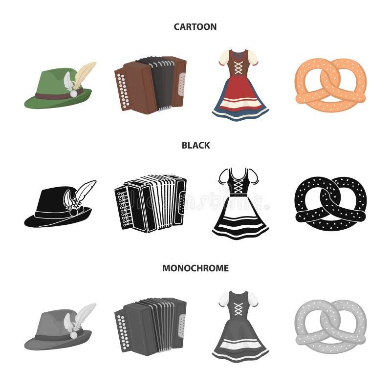 Tyrolean hat, accordion, dress, pretzel. Oktoberfest set collection icons in cartoon,black,monochrome style vector. Tyrolean hat, accordion, dress, pretzel royalty free illustration