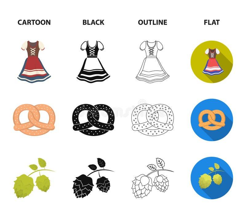 Tyrolean hat, accordion, dress, pretzel. Oktoberfest set collection icons in cartoon,black,outline,flat style vector. Tyrolean hat, accordion, dress, pretzel stock illustration