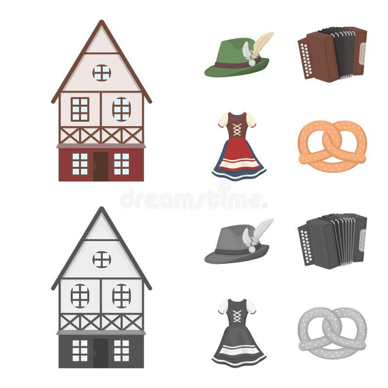 Tyrolean hat, accordion, dress, pretzel. Oktoberfest set collection icons in cartoon,monochrome style vector symbol. Tyrolean hat, accordion, dress, pretzel stock illustration