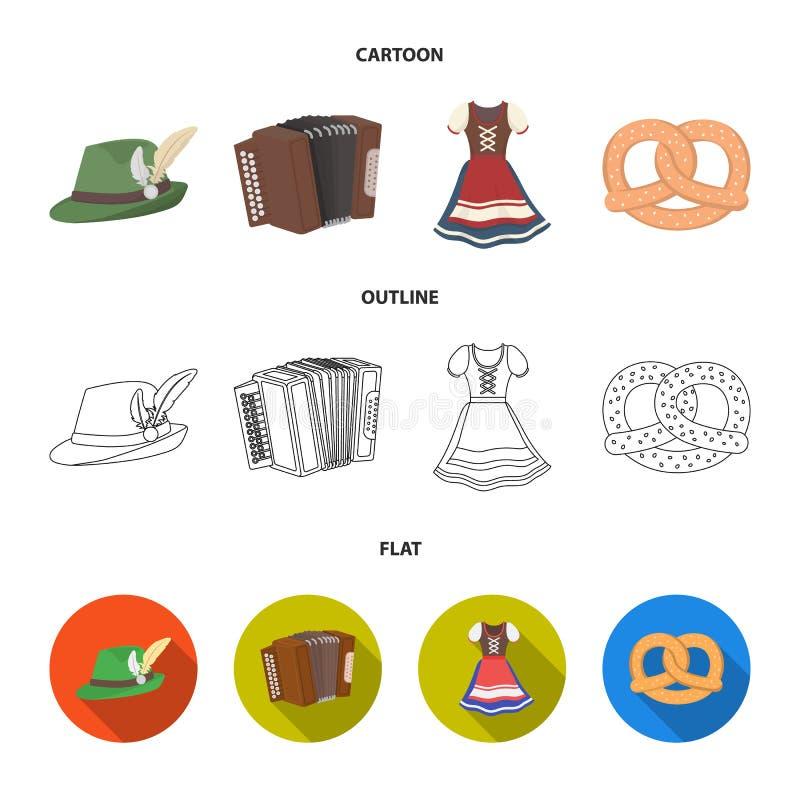 Tyrolean hat, accordion, dress, pretzel. Oktoberfest set collection icons in cartoon,outline,flat style vector symbol. Tyrolean hat, accordion, dress, pretzel vector illustration