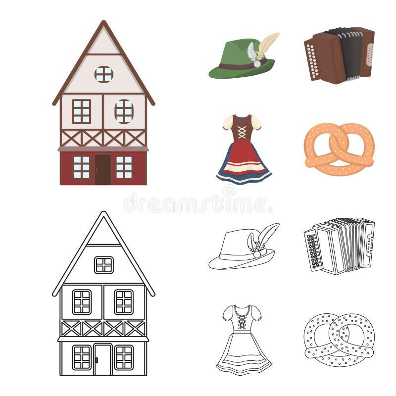 Tyrolean hat, accordion, dress, pretzel. Oktoberfest set collection icons in cartoon,outline style vector symbol stock. Tyrolean hat, accordion, dress, pretzel royalty free illustration