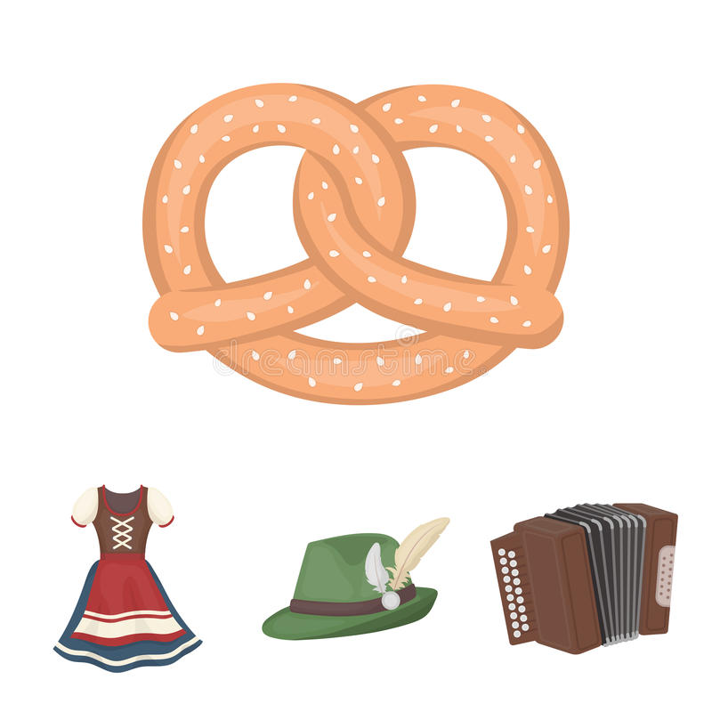 Tyrolean hat, accordion, dress, pretzel. Oktoberfest set collection icons in cartoon style vector symbol stock. Tyrolean hat, accordion, dress, pretzel royalty free illustration
