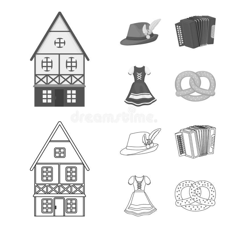 Tyrolean hat, accordion, dress, pretzel. Oktoberfest set collection icons in outline,monochrome style vector symbol. Tyrolean hat, accordion, dress, pretzel vector illustration