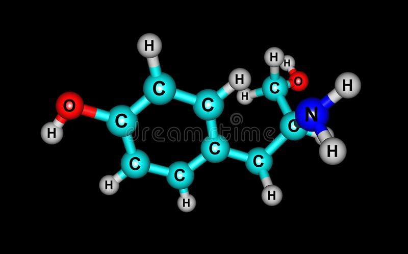 Tyrosol molecular structure isolated on black. Tyrosol is a phenylethanoid, a derivative of phenethyl alcohol. It is a natural phenolic antioxidant present in a royalty free illustration