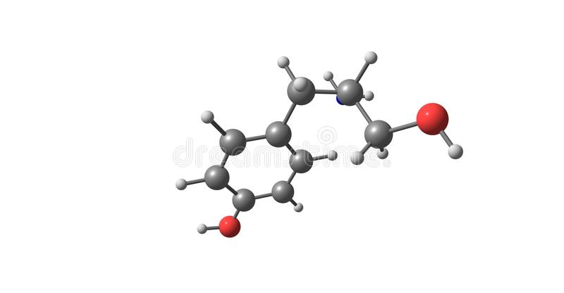 Tyrosol molecular structure isolated on white. Tyrosol is a phenylethanoid, a derivative of phenethyl alcohol. It is a natural phenolic antioxidant present in a stock illustration
