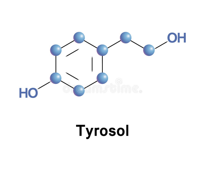 Tyrosol phenylethanoid molecule. Tyrosol is a phenylethanoid, a derivative of phenethyl alcohol. It is a natural phenolic antioxidant. Structure model of stock illustration