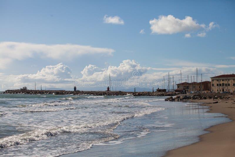 Tyrrhenian Sea, Sorano, Grosseto, Tuscany, Italy: alley in the old town. Sorano, Grosseto, Tuscany, Italy: alley in the old town and Tyrrhenian Sea royalty free stock image