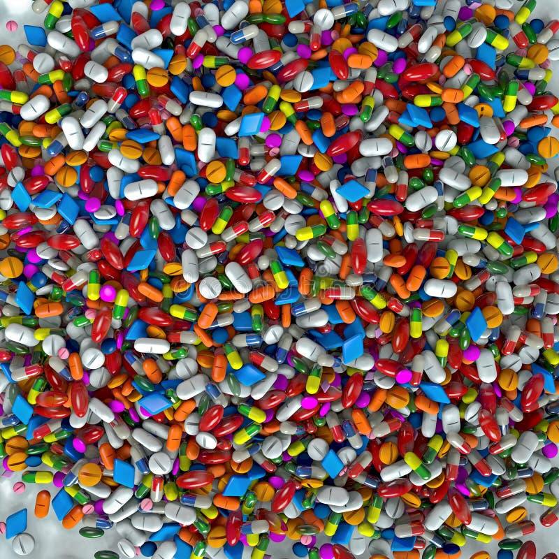 Tysiąc kolorowi pastylki, pigułki i leków, royalty ilustracja