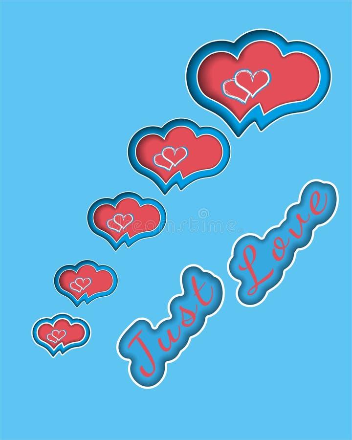 Tysiące miłości kartki z pozdrowieniami wektorowy projekt z 3d realistycznego papieru rżniętym sercem w kręconym sercu na błękitn royalty ilustracja