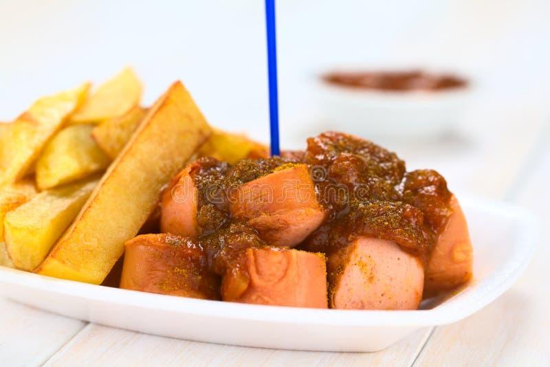 Tysk currywurst arkivfoton