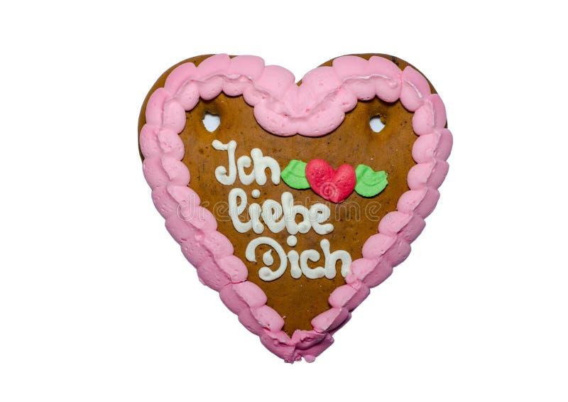 Tysk dich för julpepparkakaIch liebe - jag älskar dig arkivbild