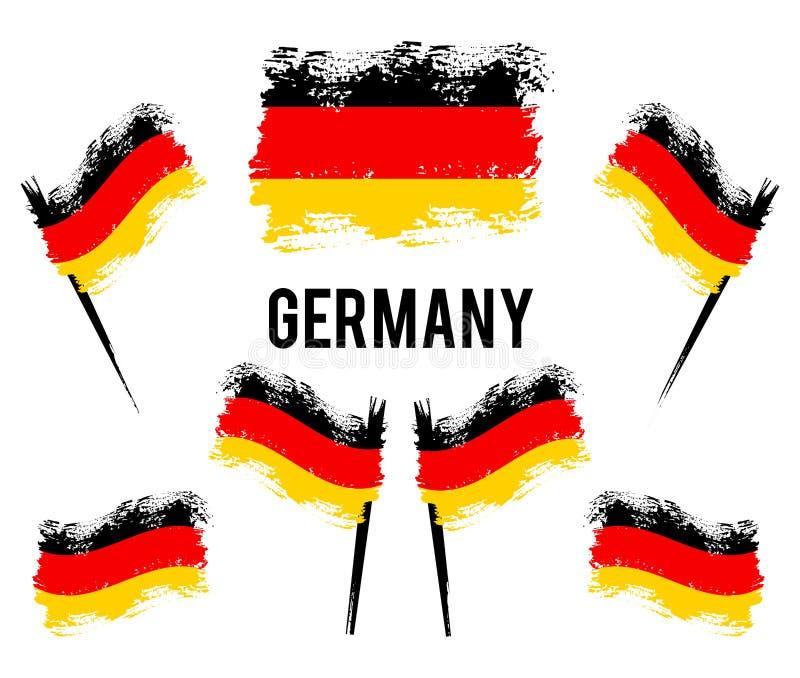 Tysk flagga som framkallar i vinden Målade färgrika borsteslaglängder för Tyskland den nationella landsvektornationsflaggan royaltyfri illustrationer