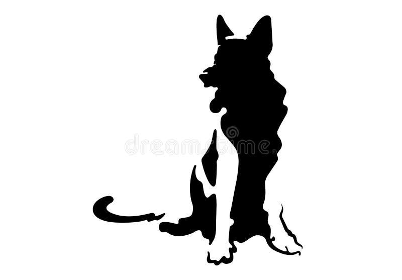 Tysk herde för hundkontur royaltyfri illustrationer