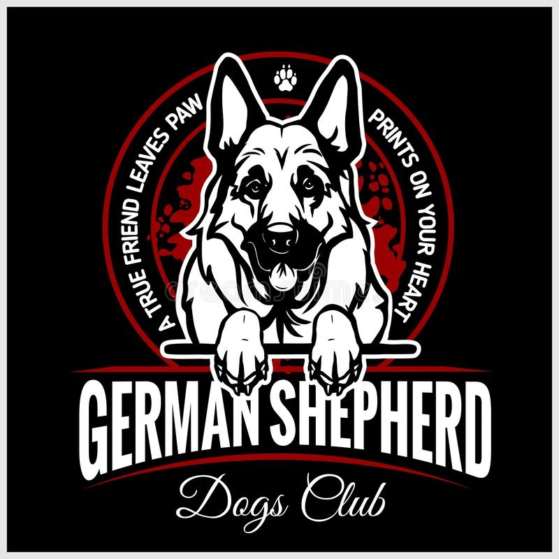 Tysk herde - vektorillustration för t-skjorta, logo- och mallemblem royaltyfri illustrationer