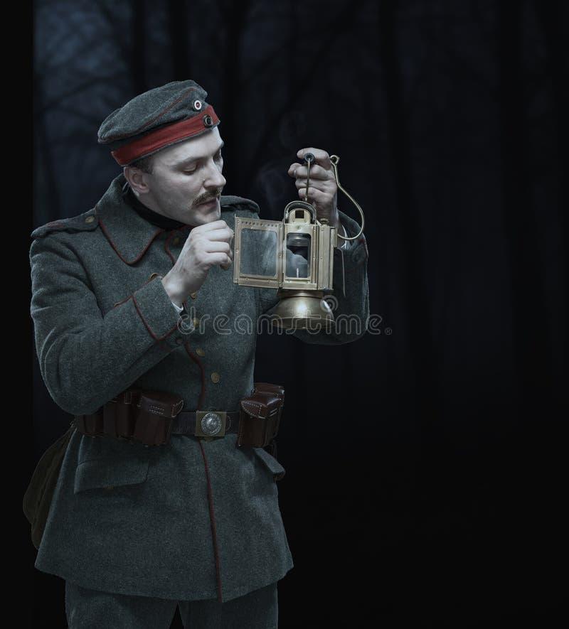 Tysk infanterist under det första världskriget. royaltyfri bild