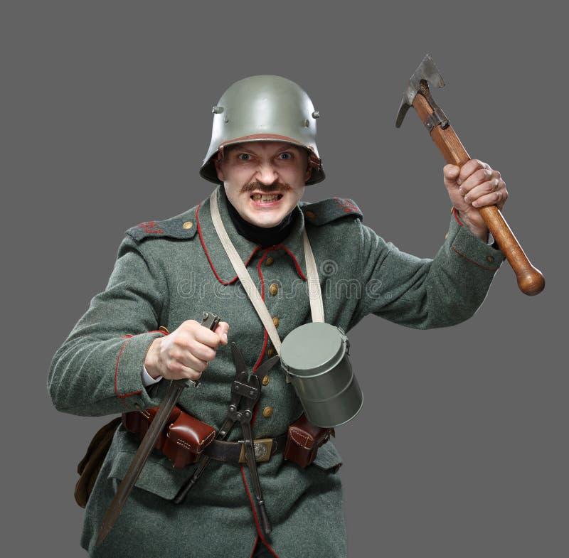 Tysk infanterist under det första världskriget. royaltyfria foton