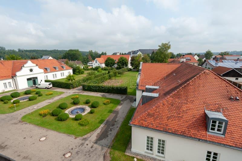 Tysk jaktslott Schloss Lautrach royaltyfria bilder