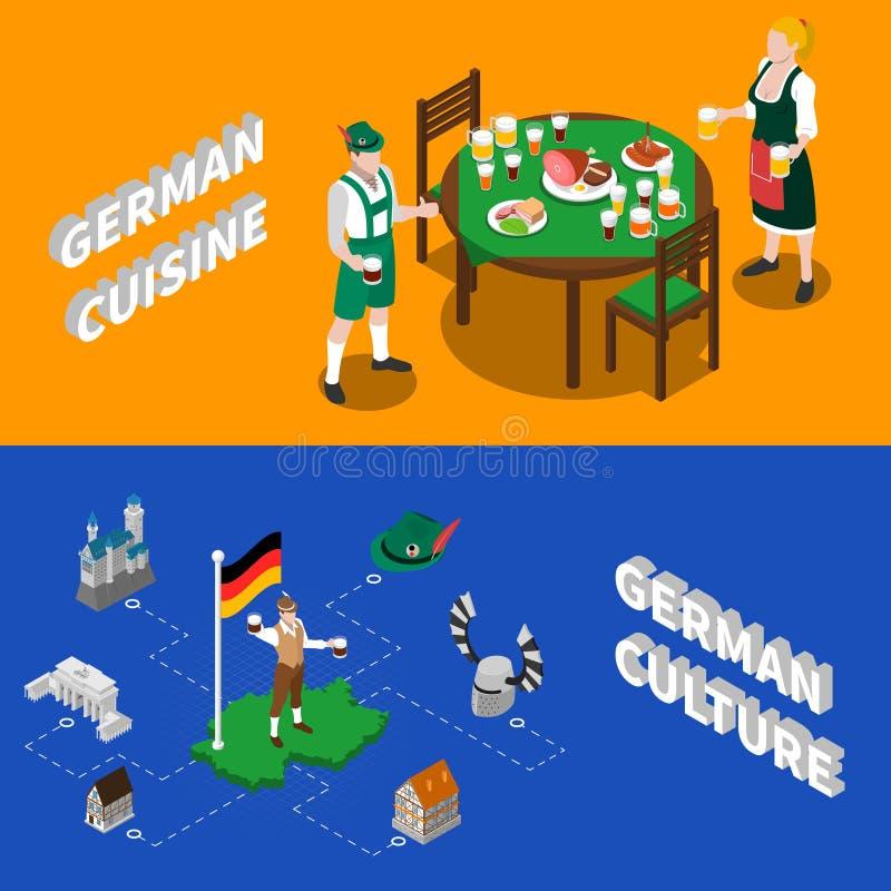 Tysk kultur för isometriska baner för turister stock illustrationer