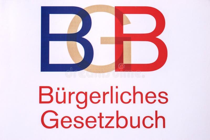 Tysk lagbok med bokstäverna BGB arkivfoton