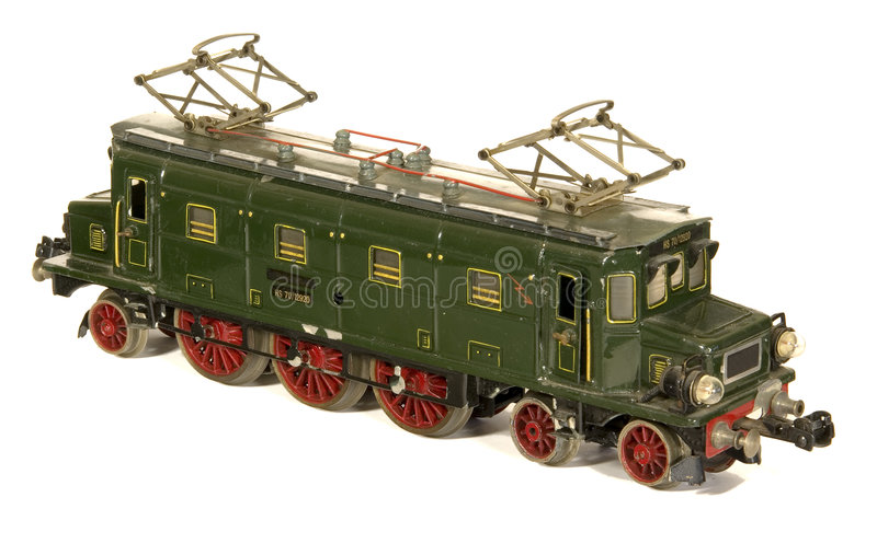 tysk rörlig model järnväg tinplatetoy för 30-tal arkivfoto