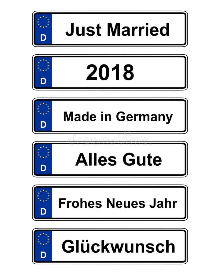 Tysk specifik medelnummerplåt på vit stock illustrationer