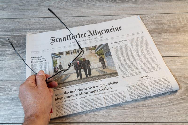 Tysk tidning för Frankfurter Allgemeine arkivfoto