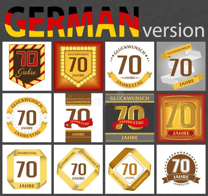Tysk upps?ttning av mallar f?r nummer 70 vektor illustrationer