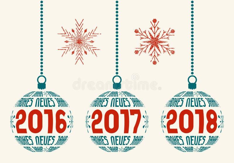 Tyska beståndsdelar 2016-2018 för grafisk design för nytt år stock illustrationer