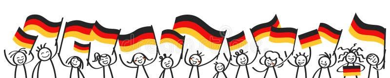 Tyska supportrar, sportfans, den lyckliga pinnen figurerar vinkande tyska flaggor, horisontalbaner royaltyfri illustrationer