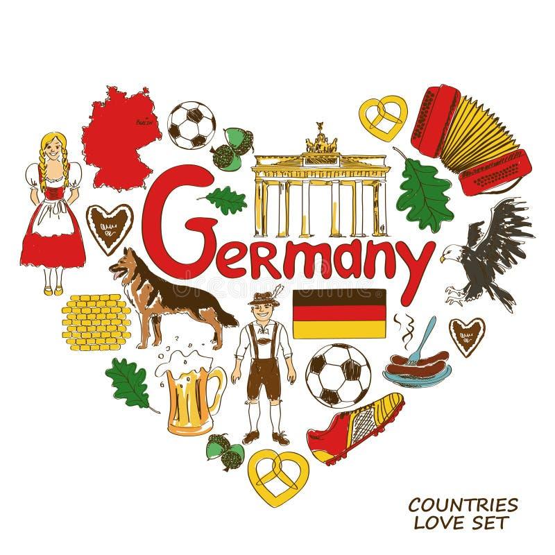 Tyska symboler i hjärtaformbegrepp stock illustrationer