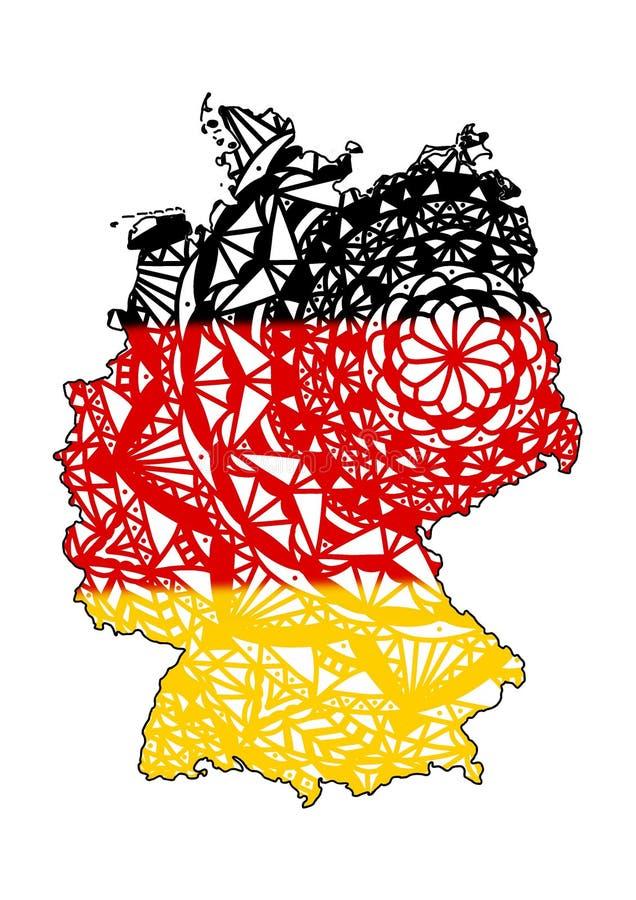 Tyskland Berlin för konstöversiktsillustration Attraktionmandalaöversikt för världen Flagga av tysk royaltyfri illustrationer