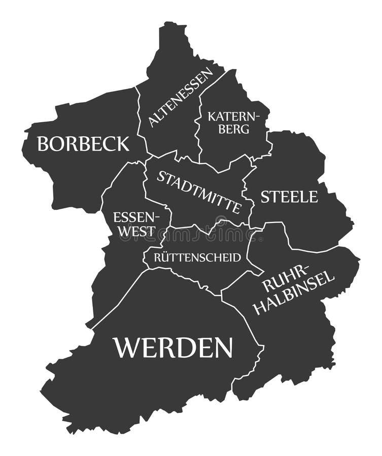 Tyskland DE för den Essen stadsöversikten märkte den svarta illustrationen vektor illustrationer