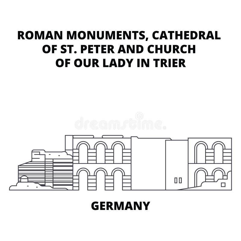 Tyskland domkyrka av linjen symbolsbegrepp för dam In Trier för St Peter And Church Of Our Tyskland domkyrka av St Peter And royaltyfri illustrationer