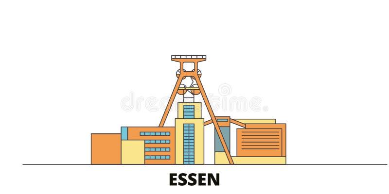 Tyskland Essen, illustration för vektor för gränsmärken för Zollverein kolgruva industriell komplex plan Tyskland Essen, Zollvere royaltyfri illustrationer