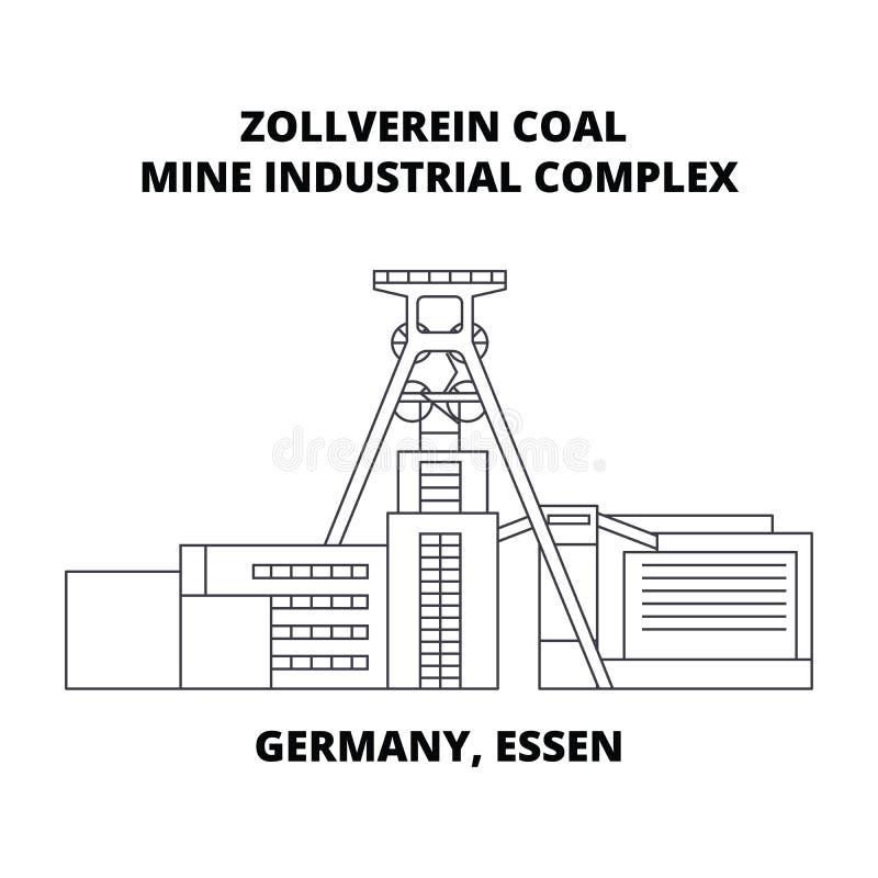 Tyskland Essen, linje symbolsbegrepp för industriellt komplex för Zollverein kolgruva Tyskland Essen, Zollverein kolgruva stock illustrationer