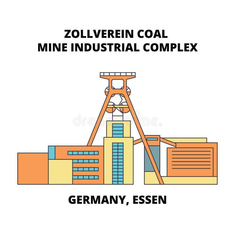 Tyskland Essen, linje symbolsbegrepp för industriellt komplex för Zollverein kolgruva Tyskland Essen, Zollverein kolgruva vektor illustrationer