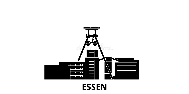 Tyskland Essen, uppsättning för horisont för lopp för Zollverein kolgruva industriell komplex plan Tyskland Essen, Zollverein kol royaltyfri illustrationer