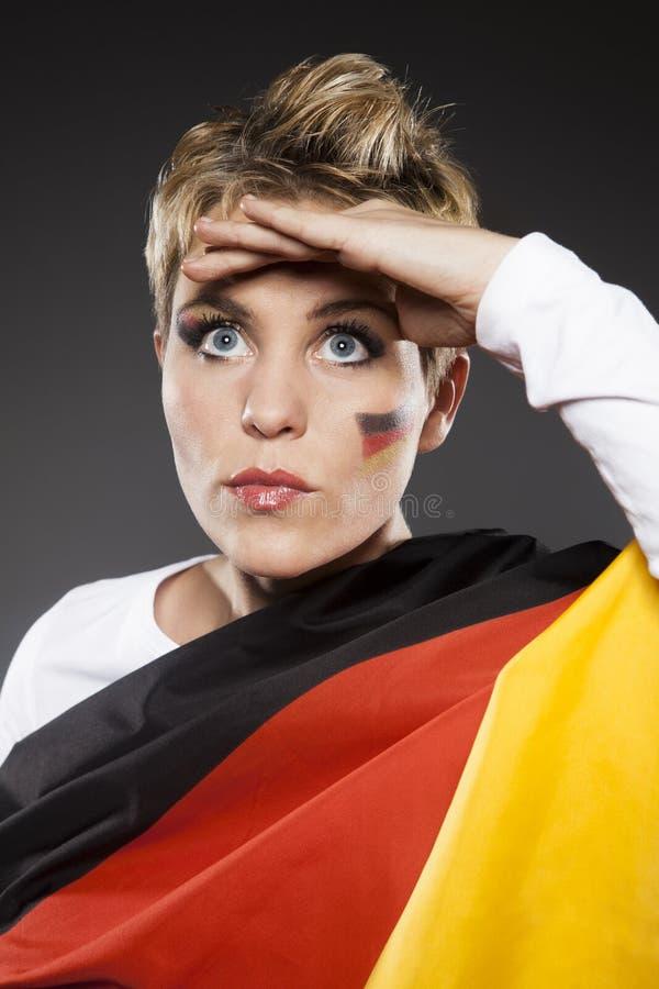 Tyskland för supporter för fotbollsportfan royaltyfri fotografi